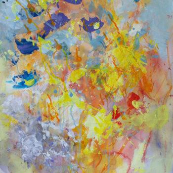 Teoksen nimi: Nanna Jalkanen Bouquet akvarelli ja akryyli vesiväripaperille 74,5×55 cm työn koko ja 91×72 cm kehyksineen 2018