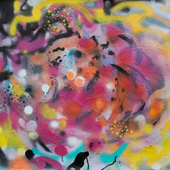 Teoksen nimi: Rose Graffiti-Bloom Again acrylic painting on aquarelle paper 57x76cm 2018