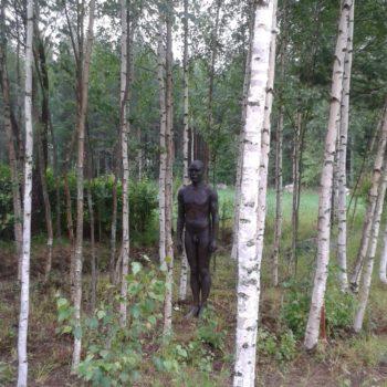 Teoksen nimi: Galleria Tienkorvan puutarhan  veistoksia, Ajattelija I ja II,Matti Happonen