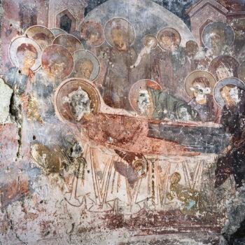 Teoksen nimi: Jumalanäidin kuolonuneen nukkuminen, Kaymakli armenialainen luostari, Trabzon