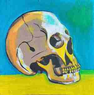 Teoksen nimi: Scull with green background