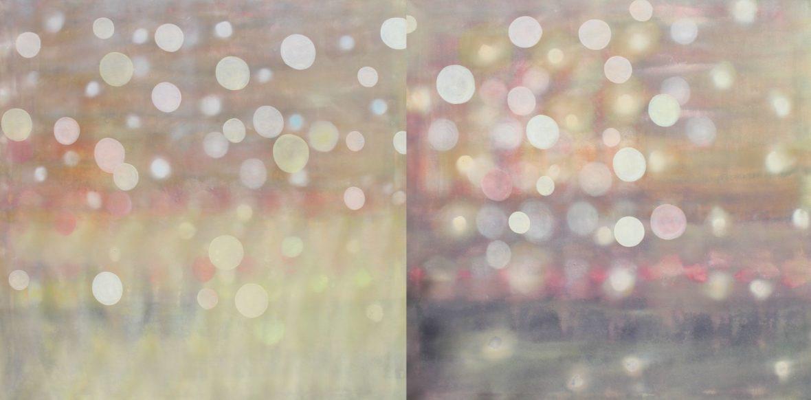 Sarjasta Kaunismaailma Valot I, öljyvärimaalaus, 100x200cm, 2017-18