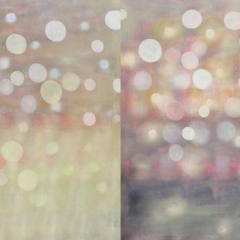 Teoksen nimi: Sarjasta Kaunismaailma Valot I, öljyvärimaalaus, 100x200cm, 2017-18