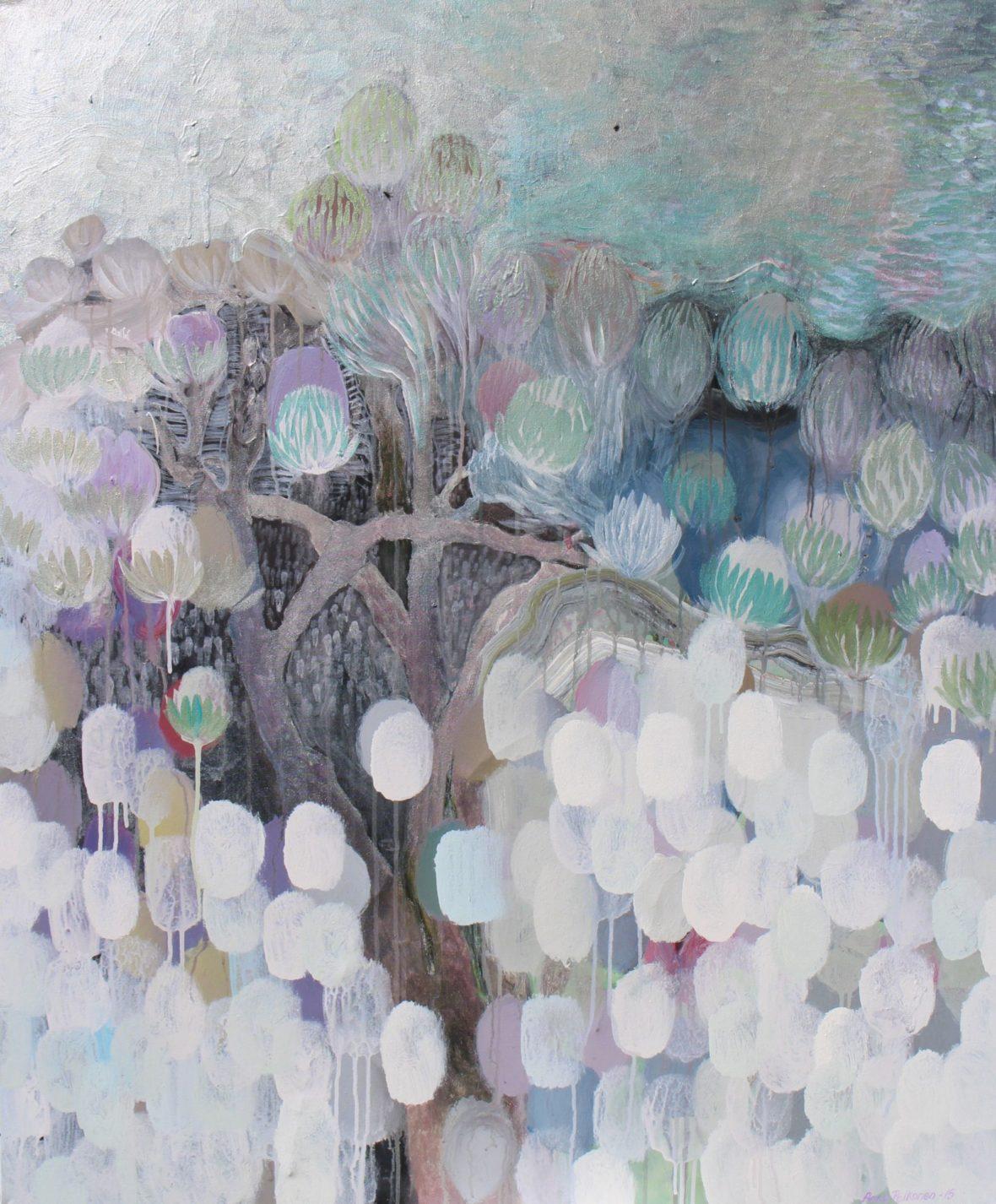 Sarjasta Kaunismaailma 27., akryylimaalaus,  120×100 cm, 2015