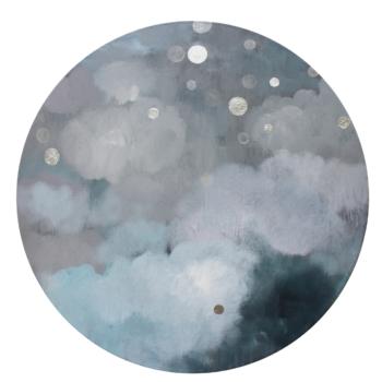 Teoksen nimi: Sarjasta Kaunismaailma 62., akryyli ja lyöntimetalli, 100 cm, 2016