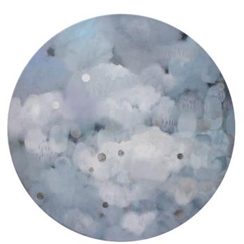 Teoksen nimi: Sarjasta Kaunismaailma 61., akryyli ja lyöntimetalli, 110 cm, 2016