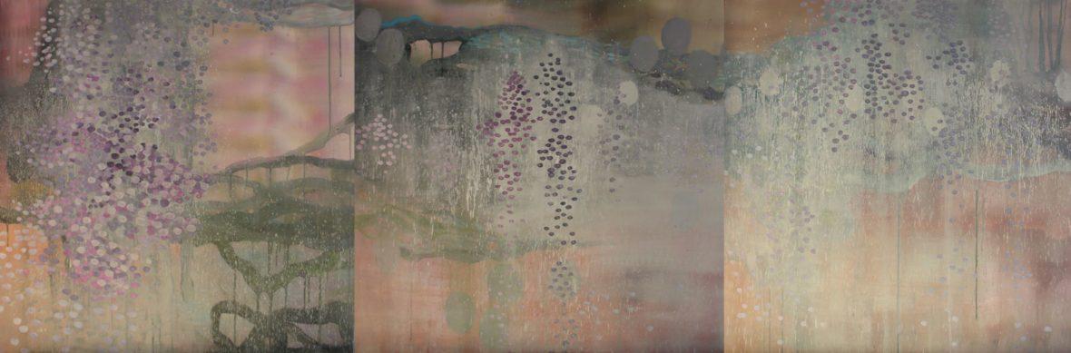 Triptyykki sarjasta Kaunismaailma 64., akryylimaalaus, 100×300 cm, 2016