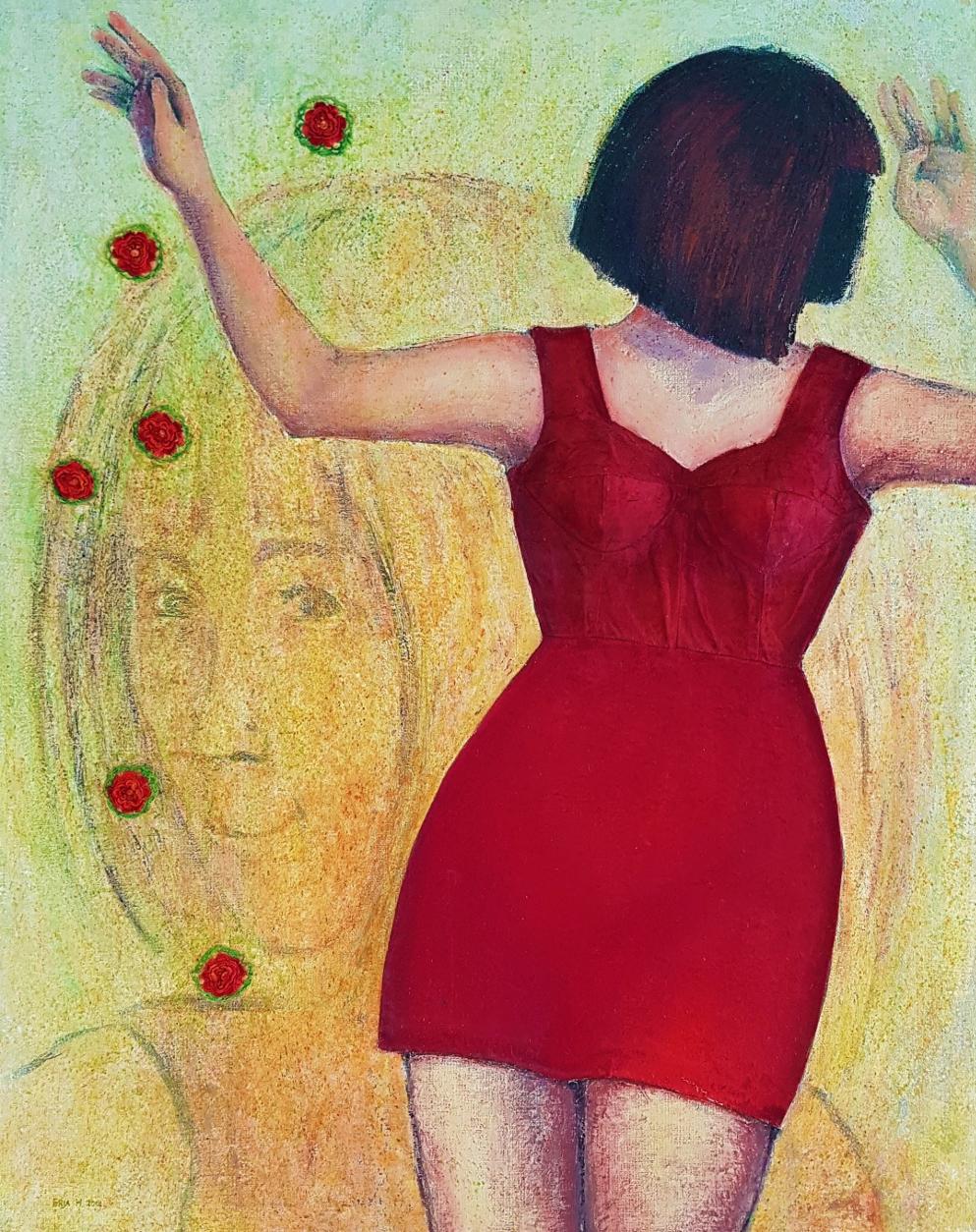 Punapukuinen nainen
