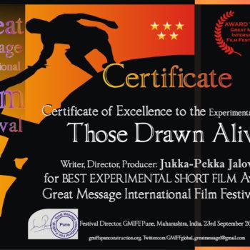 "Teoksen nimi: ""Best Experimental Shortfilm""  , Pune, Intia, 2018"