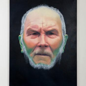 Teoksen nimi: Vanha mies nuuska huulessa 2017,280×215, öljy kankaalle