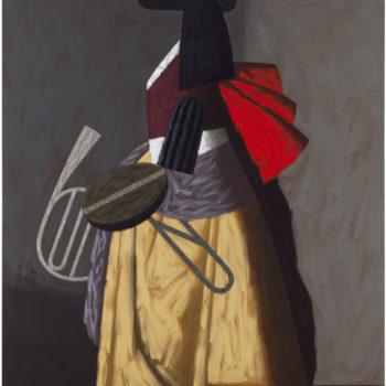 Teoksen nimi: Soittaja VII, 2014, öljy kankaalle, 215 x 140 cm