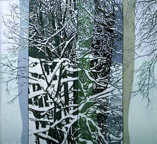 Lunta oksilla, akryyli kankaalle, 120×130 cm