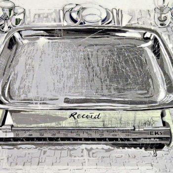 Teoksen nimi: Tarjolla 12 kg tyhjää kauniisti katettuna. Puupiirros, 2012, 50 x 122 cm