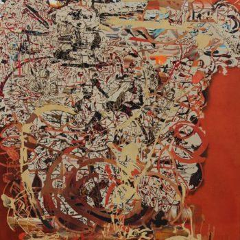 Teoksen nimi: Ei hiiri heinäkuorman alle muserru,2012,183 X 170 cm,akryyli kankaalle