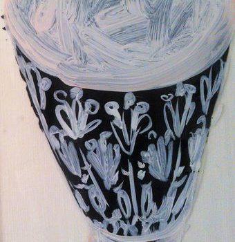 Teoksen nimi: Musta lintu ja kupit -öljymaalaussarja pleksille, 2015-2016, 13 osaa, koot n. 84×41 cm – 36×30 cm