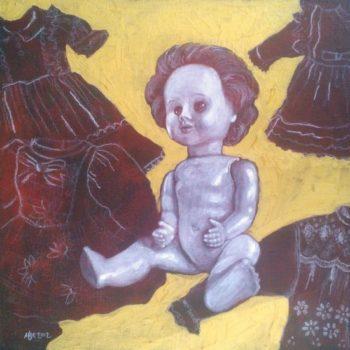 Teoksen nimi: Neljän mekon salaisuus. 2012. 43×43. Öljymaalaus