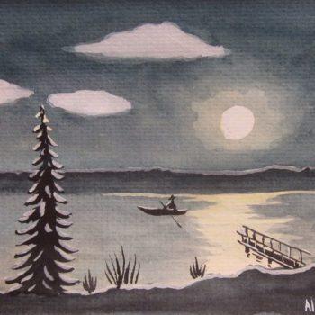 Teoksen nimi: Kuutamo järvi