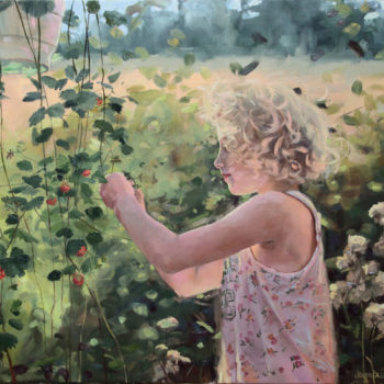 Teoksen nimi: Girl and strawberry. Oil on canvas 90x106cm,2013. Tyttö ja mansikka.