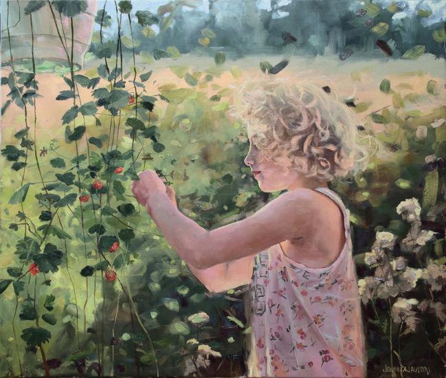 Girl and strawberry. Oil on canvas 90x106cm,2013. Tyttö ja mansikka.