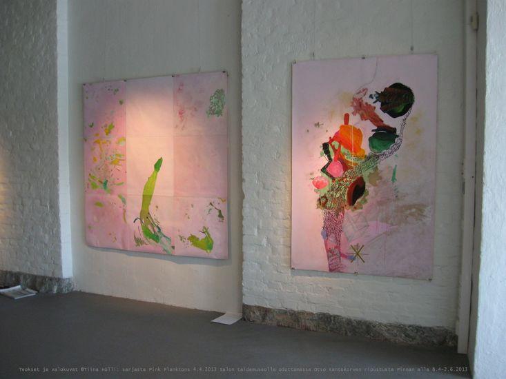 Pink Planktons Plastic Bits in warm spotlights, Salo Art Museum 2013
