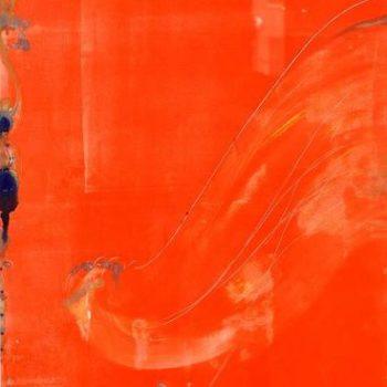 Teoksen nimi: Pehmeän kultaisen siiven kärki heilahtaa leppeässä tuulessa.