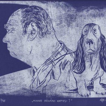Teoksen nimi: Minne päiväni katosi? 2010. 21×26. Linoleikkaus