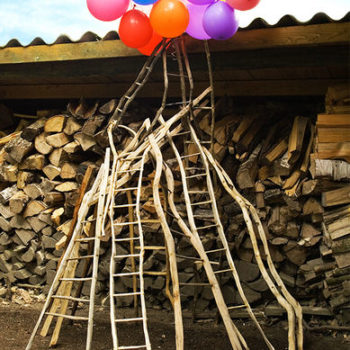 Name of the work: Halkopinon takana/Behind the pile of firewood