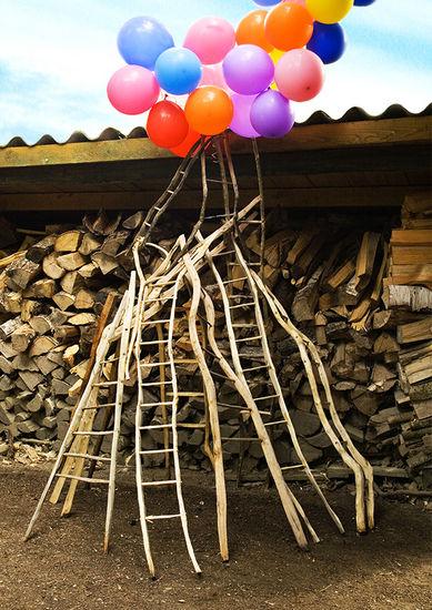 Halkopinon takana/Behind the pile of firewood