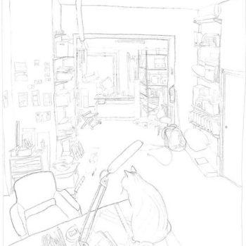 Teoksen nimi: Työhuone, lyijykynäpiirustus 2006