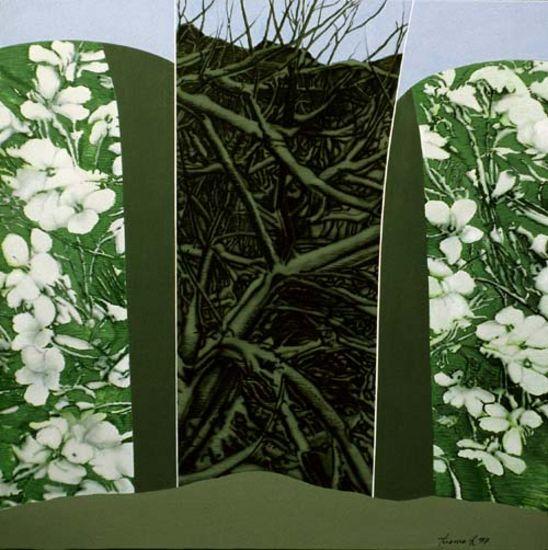 Kevät, akryyli kankaalle, 130×130 cm