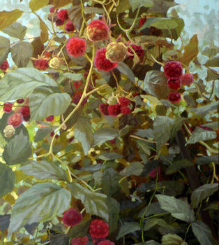 Teoksen nimi: Rubus idaeus. Part I, 2012. Oil on canvas 140x80cm.