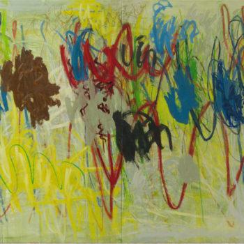 Teoksen nimi: Trick-Track, 2011, öljy kankaalle, 200×340