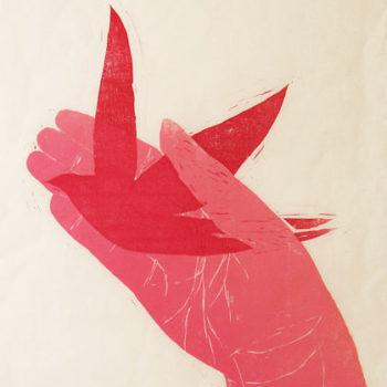 Teoksen nimi: Catch;      puupiirros, 2007