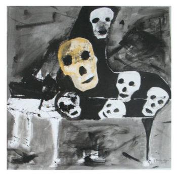 Teoksen nimi: Kallot. Skulls. 73 x 73.