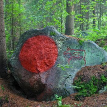 Teoksen nimi: punamultamaalaus kiveen, 2004
