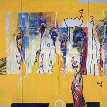 Teoksen nimi: Heart Smoke 1998, öljy, 180×330 cm