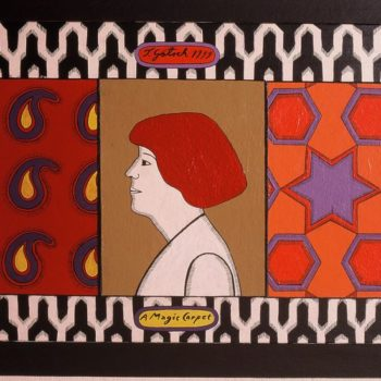 Teoksen nimi: Sivu taiteilijakirjasta. Becoming a magic carpet, 1999