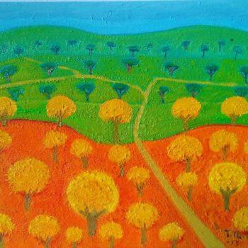 Teoksen nimi: Tie puiden lomassa/A road between trees