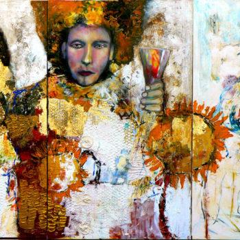 Teoksen nimi: Valontuojat (marttyyri, kuningas, narri ja auringonkukat)