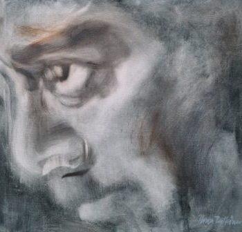 """Teoksen nimi: """"Mikä mies 2"""", öljyväri, 2012"""