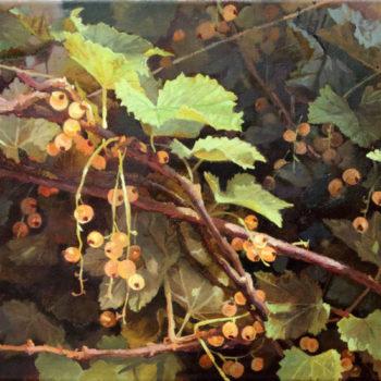 Teoksen nimi: Valkoinen viinimarja,2014. Öljy kankaalle 30 x 70cm. White currant.