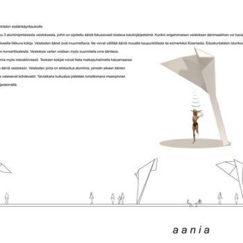 Teoksen nimi: aania 2009, Yhteistyössä Gilmar Schilcherin kanssa tehty ehdotus Helsingin Musiikkitalon taideteoskilpailuun.