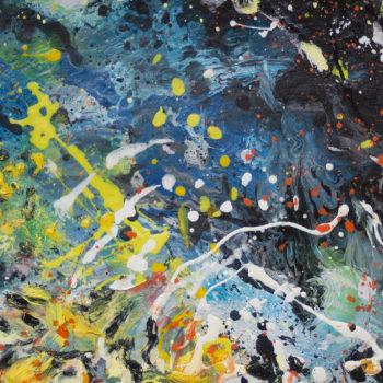 Teoksen nimi: Nanna Jalkanen Nebulae öljymaalaus synteettiselle paperille 28×36 cm (kehyksineen 42.5×50,5cm) 2017