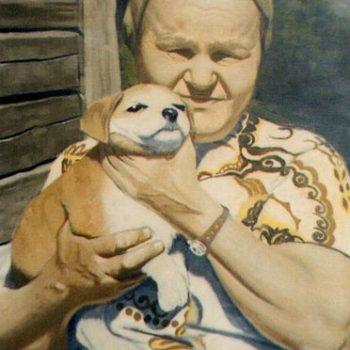 Teoksen nimi: Mummo ja koiranpentu 1997