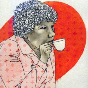Teoksen nimi: Juodaas kaffet # 3    , sekatekniikka