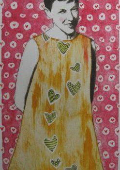 Teoksen nimi: Rakkautta ilmassa    , kuivaneula, carborundum, akvarelli ja lyijykynä