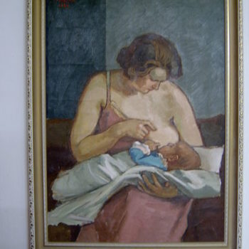 Teoksen nimi: Äiti ja lapsi 1930