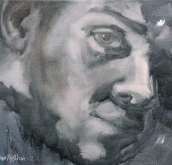 """Teoksen nimi: """"Mikä Mies 1"""", öljyväri, 2012, yksityiskokoelmat"""