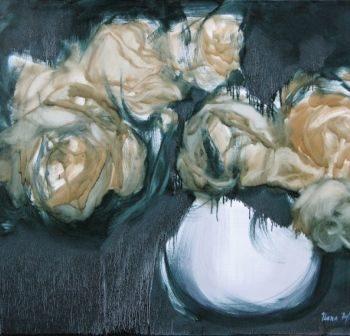 """Teoksen nimi: """"Keltaiset ruusut"""", öljyväri, 2012"""