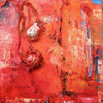 Teoksen nimi: Irti! öljytekstiilikollaasi 88 x 88 x 6 cm  2011